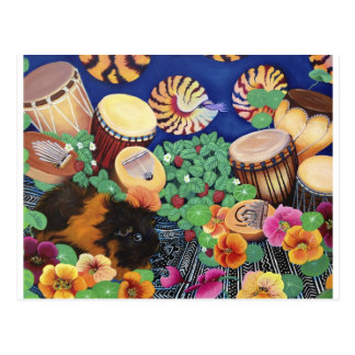 Guinea Pig Magic Carpet Drum Garden Delight Postcard