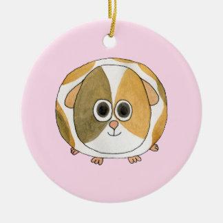 Guinea Pig on Pink. Round Ceramic Ornament