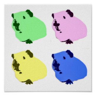 Guinea pig pop art effect poster
