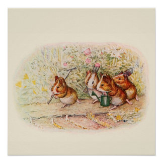 Guinea Pigs and Garden Tools Perfect Poster