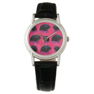 Guinea Pigs On  Roses, Ladies Black Leather Watch