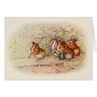 Guinea Pigs Planting in the Garden Card