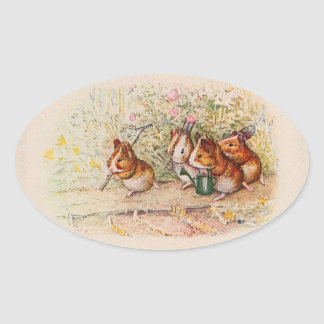 Guinea Pigs Planting in the Garden Oval Sticker