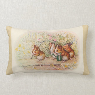Guinea Pigs Planting in the Garden Sepia Lumbar Pillow