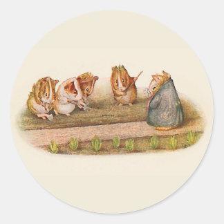 Guinea pigs tending garden classic round sticker