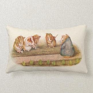 Guinea pigs tending garden lumbar pillow