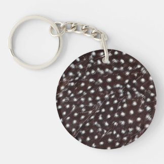 Guineafowl Spotted Feather Abstract Double-Sided Round Acrylic Keychain