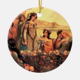 Guinevere in Camelot Round Ceramic Ornament