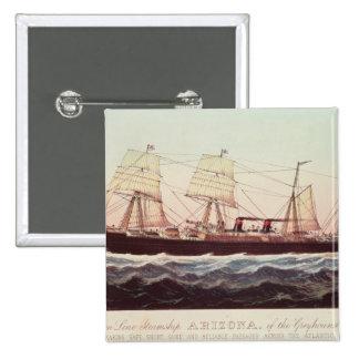 Guion Line Steamship Arizona 2 Inch Square Button