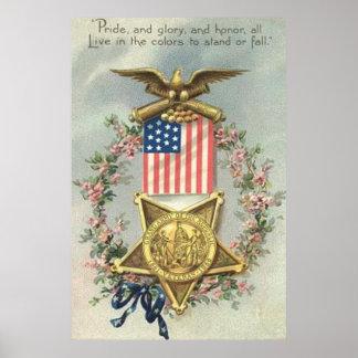 Guirlande d'Eagle de médaille de guerre civile des Poster