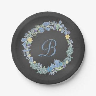 Guirlande florale bleue de Bells épousant les Assiette En Papier 17,8 Cm