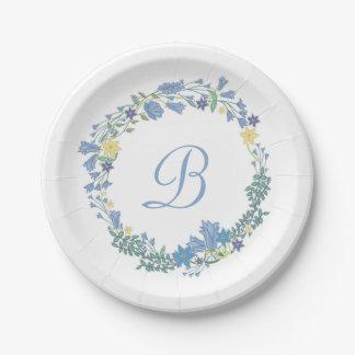 Guirlande florale bleue de Bells épousant les Assiettes En Papier