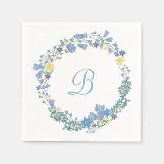 Guirlande florale bleue de Bells épousant les Serviette Jetable
