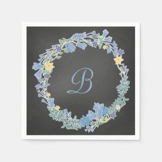 Guirlande florale bleue de Bells épousant les Serviettes Jetables