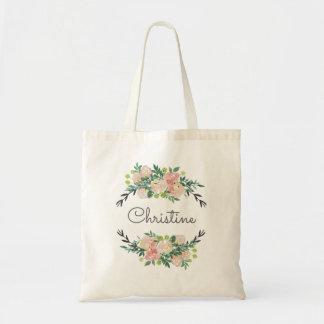 guirlande florale nommée personnalisée sac en toile budget