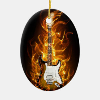 Guitair Flames Ceramic Ornament