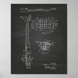 Guitar 1955 Patent Art Chalkboard Poster