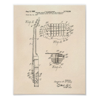 Guitar 1955 Patent Art Old Peper Poster