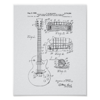 Guitar 1955 Patent Art - White Paper Poster