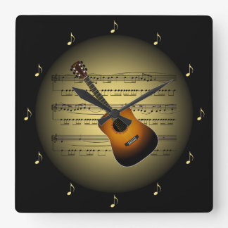 Guitar 3-D Gold Globe ~ Sheet Music ~ Black BG ~ * Square Wall Clock
