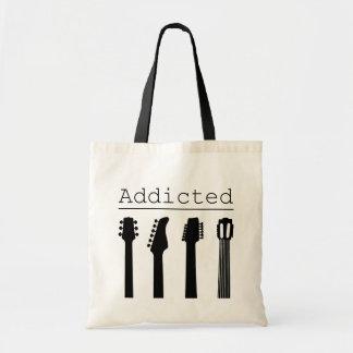 Guitar addicted tote bag