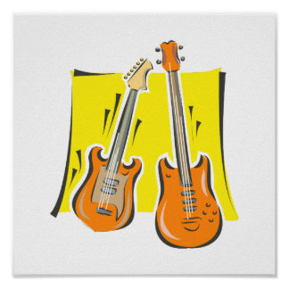 guitar and bass stylized orange.png posters
