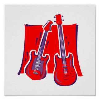 guitar and bass stylized red.png print