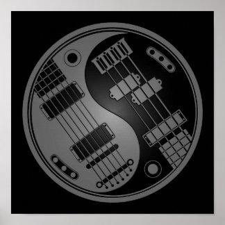 Guitar and Bass Yin Yang Grey and Black Posters