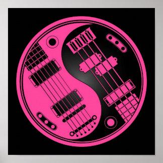 Guitar and Bass Yin Yang Pink and Black Print