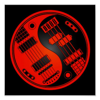 Guitar and Bass Yin Yang Red and Black Posters