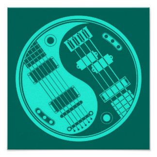 Guitar and Bass Yin Yang Teal Blue Posters