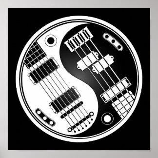Guitar and Bass Yin Yang White and Black Print