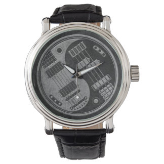Guitar and Bass Yin Yang with Dark Texture Watch