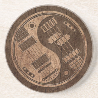 Guitar and Bass Yin Yang with Wood Grain Effect Coaster