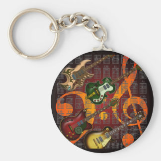 Guitar and Chord 07 Basic Round Button Keychain