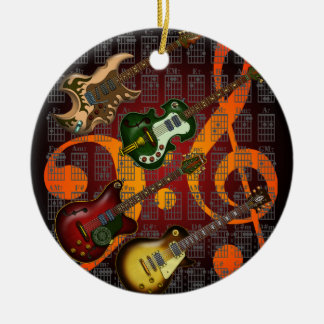 Guitar and Chord 07 Round Ceramic Ornament