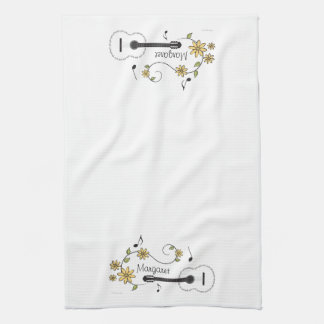 Guitar and Flowers Kitchen Towel