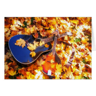 Guitar and Mandolin in the Leaves Card