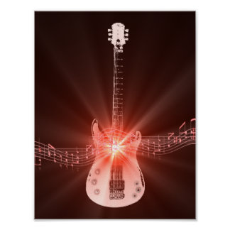 Guitar and Musical Notes Picture Poster