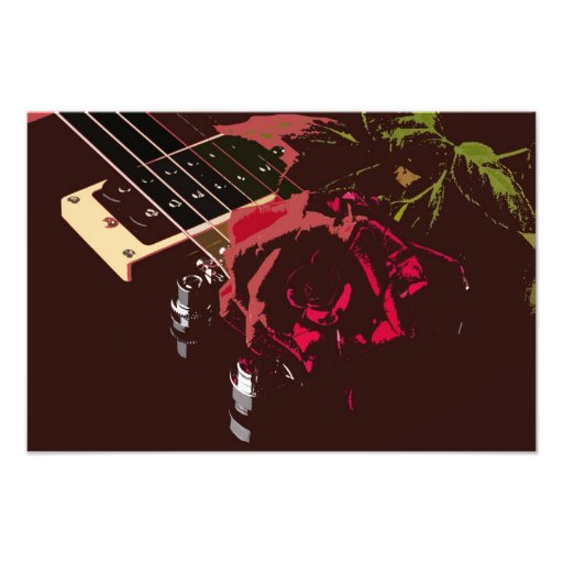 Guitar and Red Rose Photographic Print