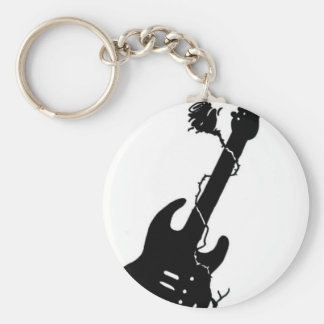 Guitar and rose key chains