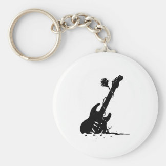 Guitar and rose keychain