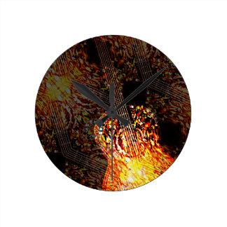 Guitar Art Round Clock