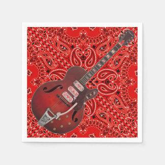 Guitar Bandana Country Music BBQ Picnic Paisley Napkin