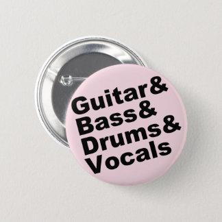 Guitar&Bass&Drums&Vocals (blk) 2 Inch Round Button
