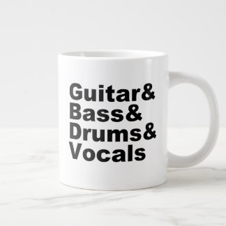 Guitar&Bass&Drums&Vocals (blk) Large Coffee Mug