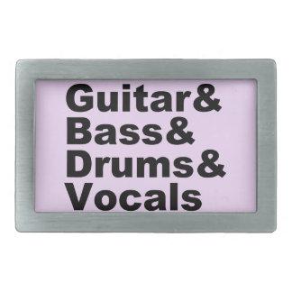Guitar&Bass&Drums&Vocals (blk) Rectangular Belt Buckles