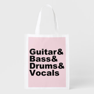 Guitar&Bass&Drums&Vocals (blk) Reusable Grocery Bag