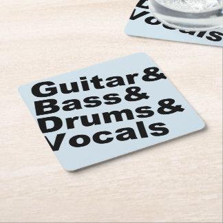 Guitar&Bass&Drums&Vocals (blk) Square Paper Coaster