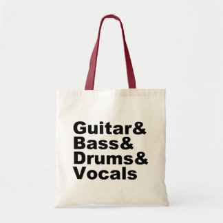 Guitar&Bass&Drums&Vocals (blk) Tote Bag